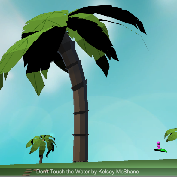 3D tropical game scene with three palm trees